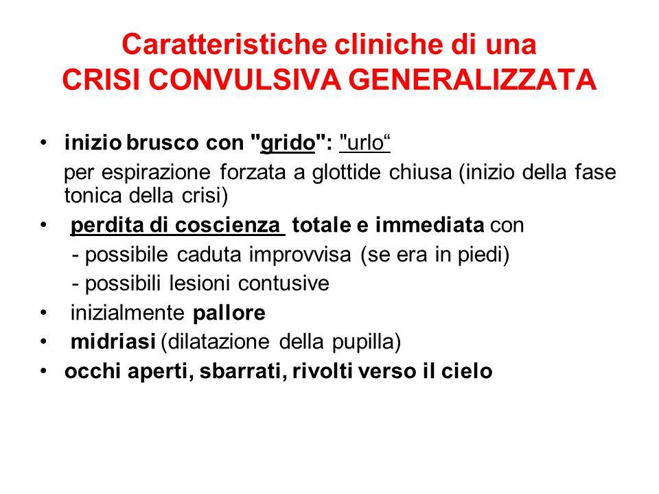 Caratteristiche cliniche di una CRISI CONVULSIVA GENERALIZZATA
