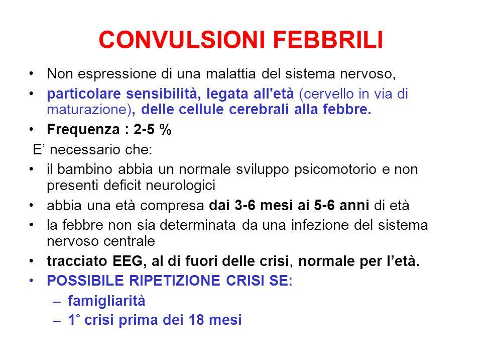 CONVULSIONI FEBBRILI Non espressione di una malattia del sistema nervoso,