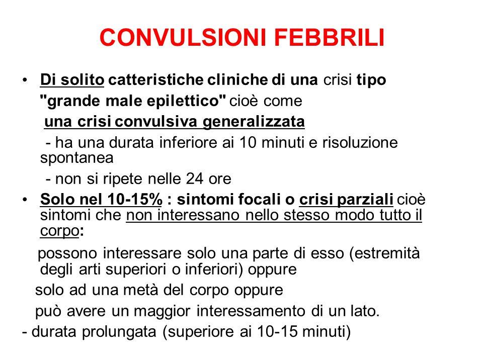 CONVULSIONI FEBBRILI Di solito catteristiche cliniche di una crisi tipo. grande male epilettico cioè come.