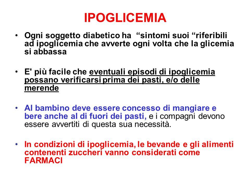 IPOGLICEMIA Ogni soggetto diabetico ha sintomi suoi riferibili ad ipoglicemia che avverte ogni volta che la glicemia si abbassa.