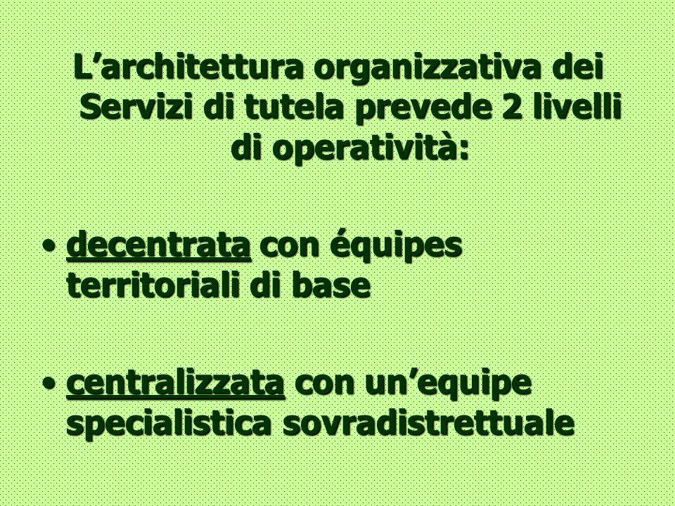 L'architettura organizzativa dei Servizi di tutela prevede 2 livelli di operatività:
