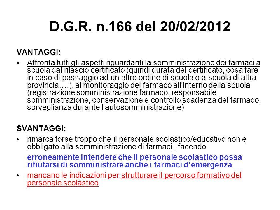 D.G.R. n.166 del 20/02/2012 VANTAGGI: