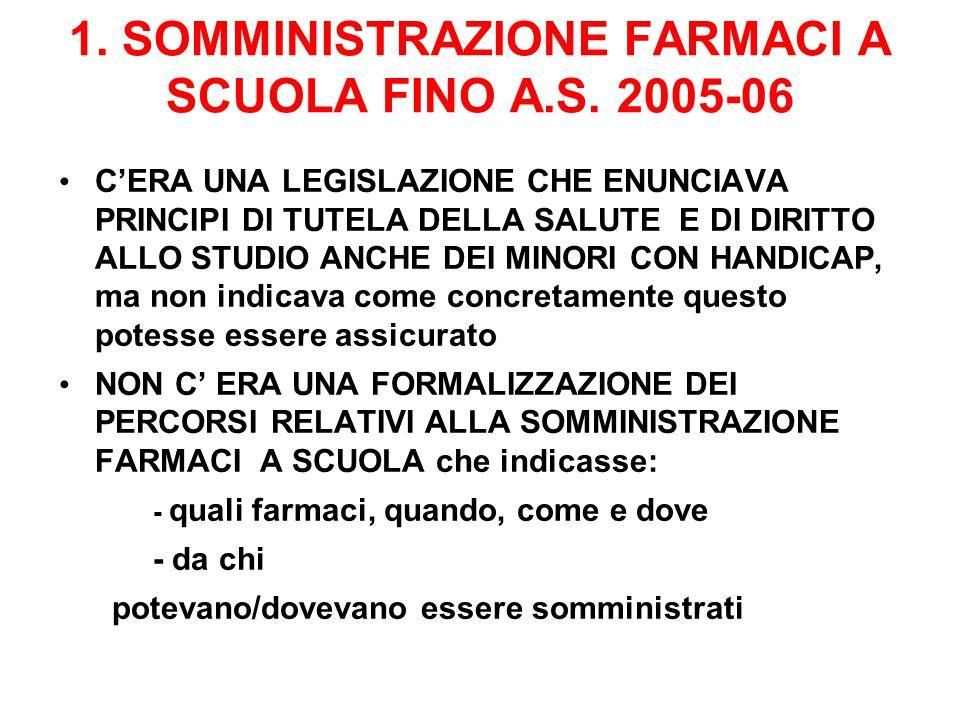 1. SOMMINISTRAZIONE FARMACI A SCUOLA FINO A.S. 2005-06