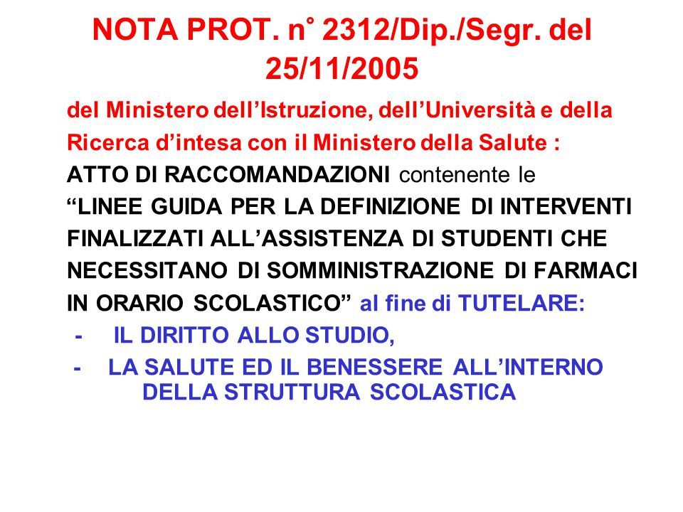 NOTA PROT. n° 2312/Dip./Segr. del 25/11/2005