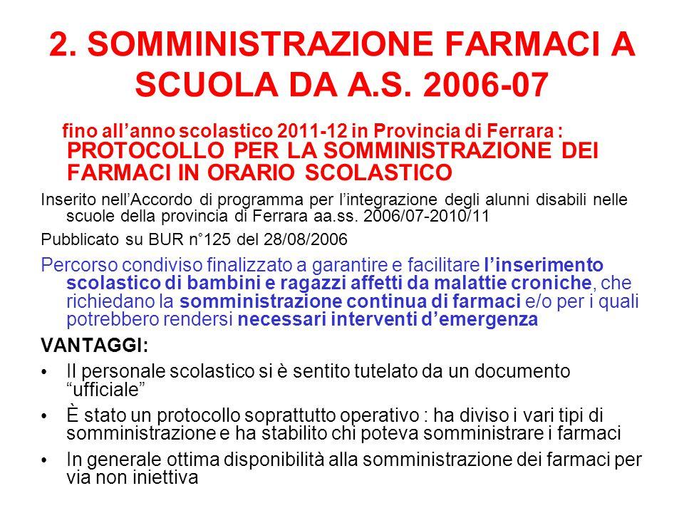 2. SOMMINISTRAZIONE FARMACI A SCUOLA DA A.S. 2006-07