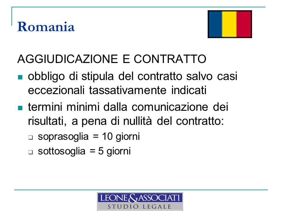 Romania AGGIUDICAZIONE E CONTRATTO