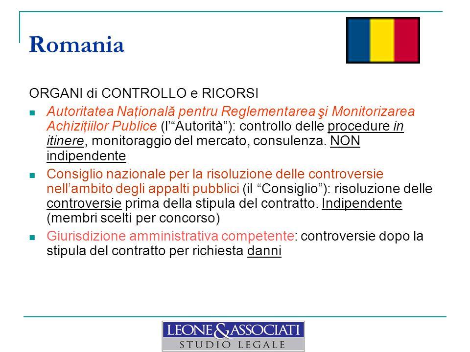 Romania ORGANI di CONTROLLO e RICORSI