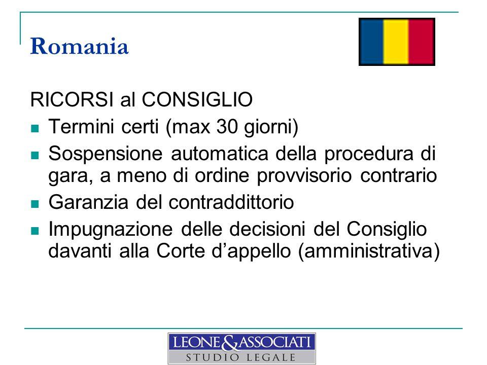 Romania RICORSI al CONSIGLIO Termini certi (max 30 giorni)