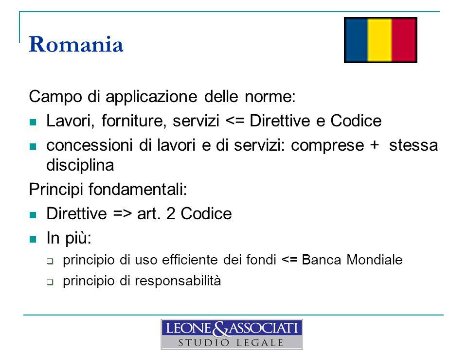 Romania Campo di applicazione delle norme: