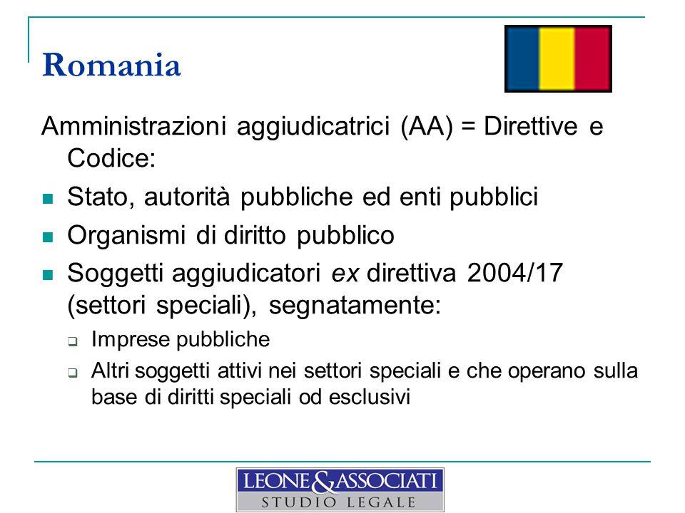Romania Amministrazioni aggiudicatrici (AA) = Direttive e Codice:
