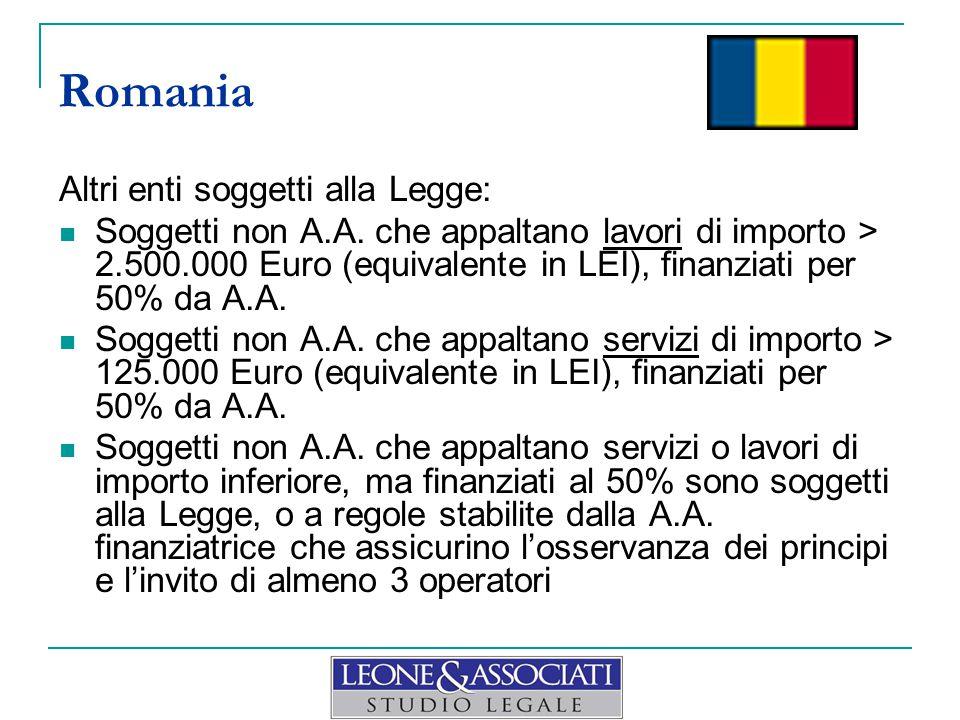 Romania Altri enti soggetti alla Legge: