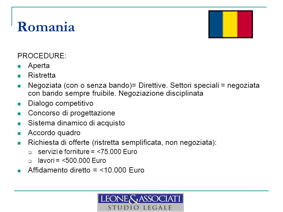 Romania PROCEDURE: Aperta Ristretta