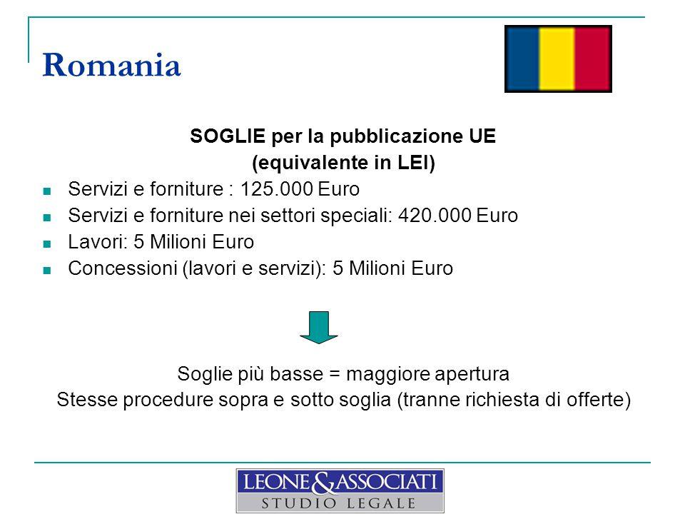 SOGLIE per la pubblicazione UE