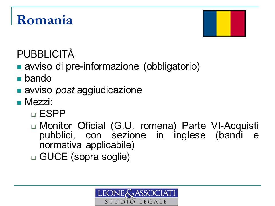 Romania PUBBLICITÀ avviso di pre-informazione (obbligatorio) bando