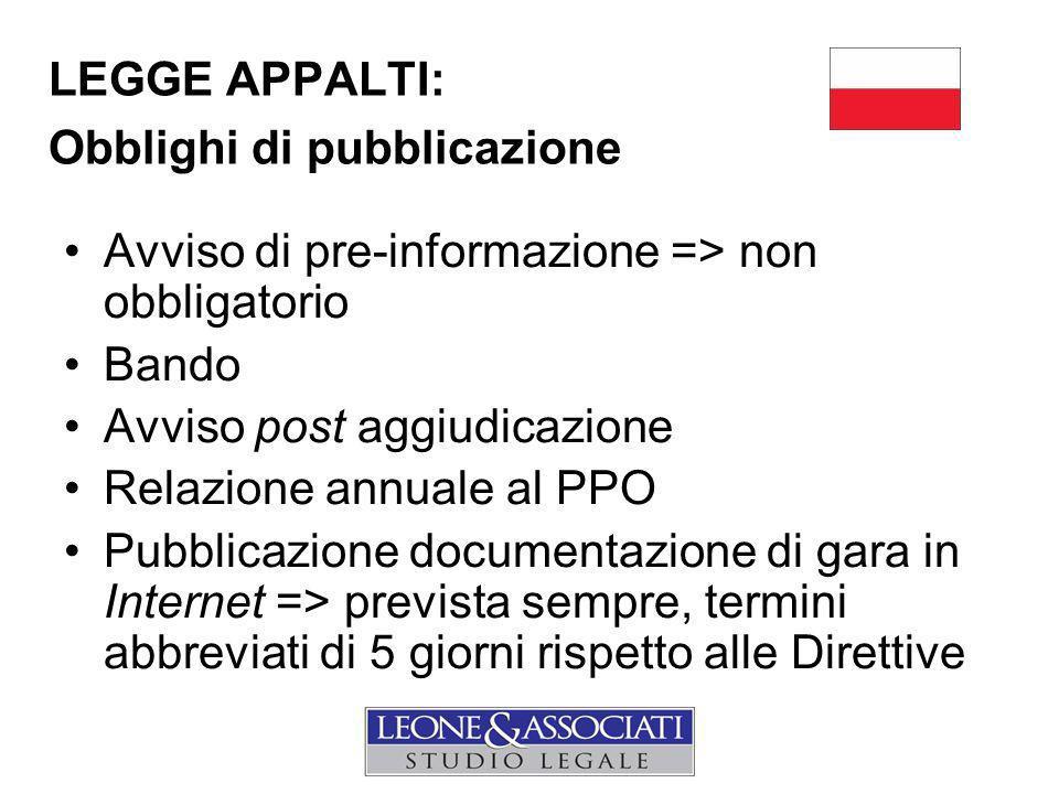 LEGGE APPALTI: Obblighi di pubblicazione