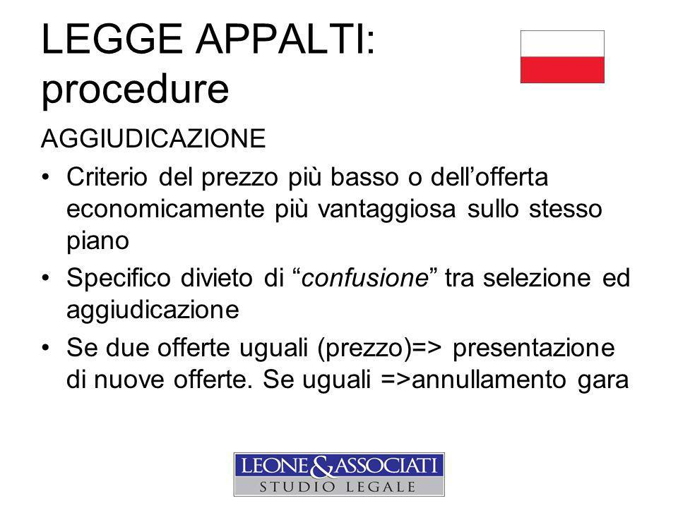 LEGGE APPALTI: procedure