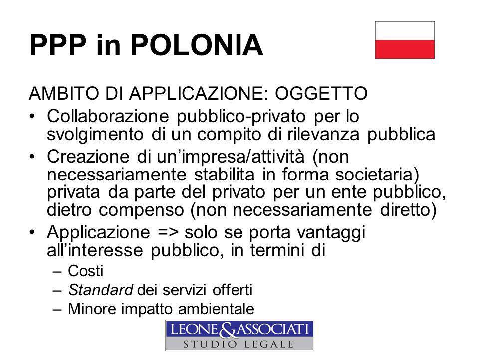 PPP in POLONIA AMBITO DI APPLICAZIONE: OGGETTO