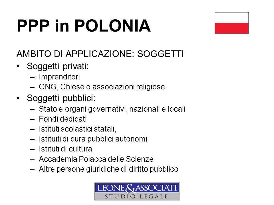 PPP in POLONIA AMBITO DI APPLICAZIONE: SOGGETTI Soggetti privati: