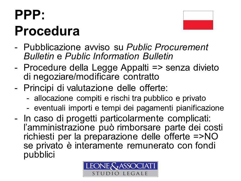 PPP: Procedura Pubblicazione avviso su Public Procurement Bulletin e Public Information Bulletin.