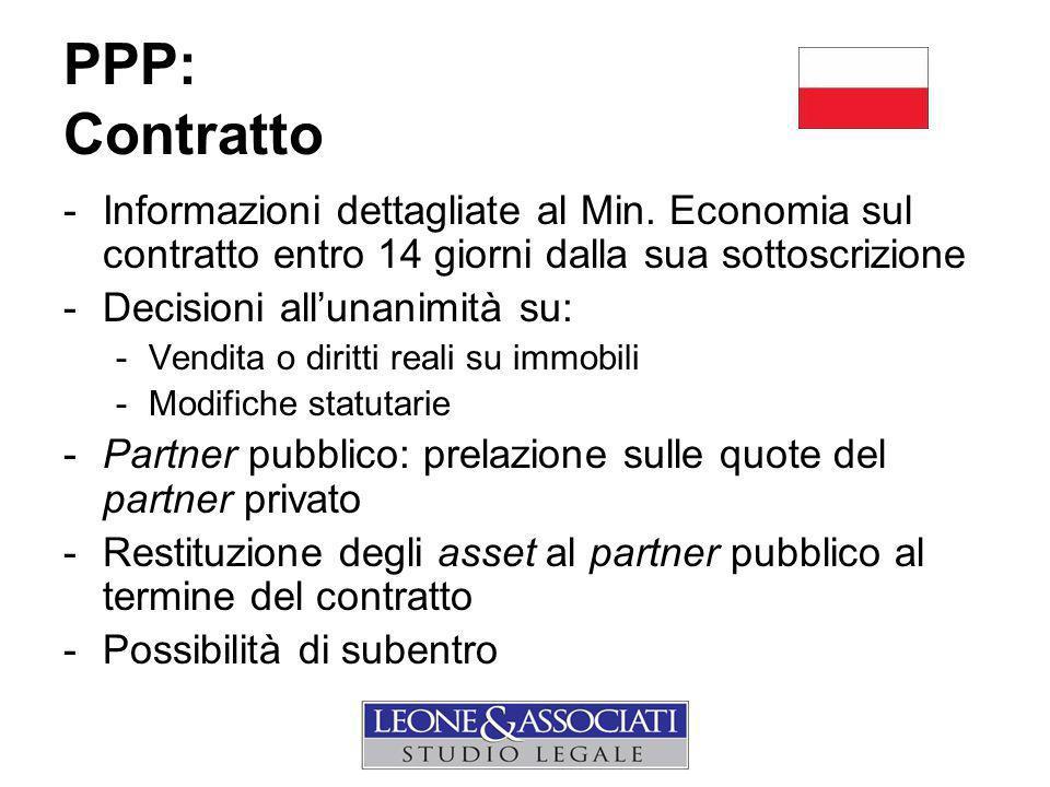 PPP: Contratto Informazioni dettagliate al Min. Economia sul contratto entro 14 giorni dalla sua sottoscrizione.