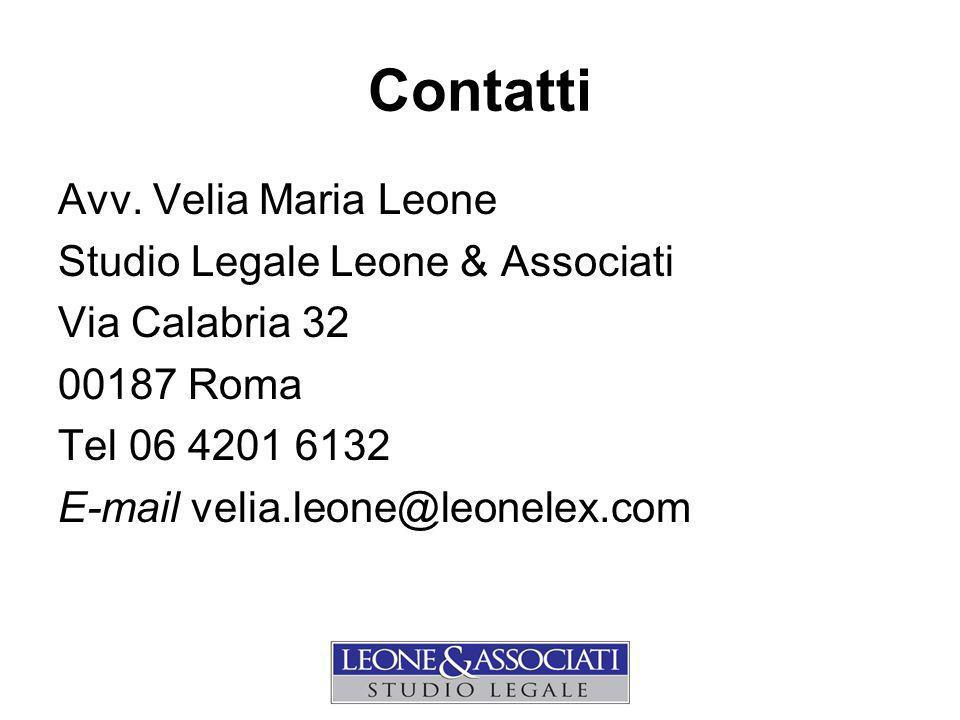 Contatti Avv. Velia Maria Leone Studio Legale Leone & Associati