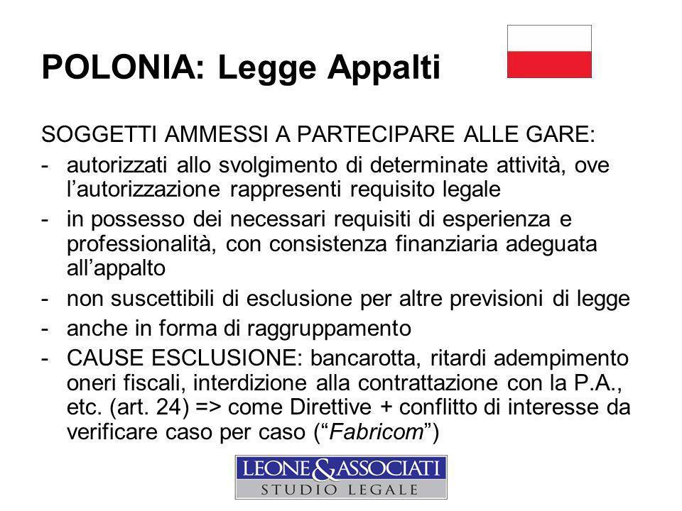 POLONIA: Legge Appalti