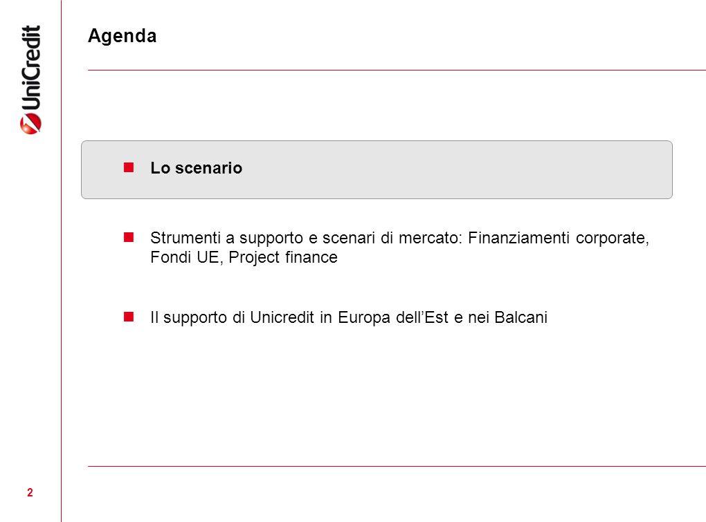 Agenda Lo scenario. Strumenti a supporto e scenari di mercato: Finanziamenti corporate, Fondi UE, Project finance.