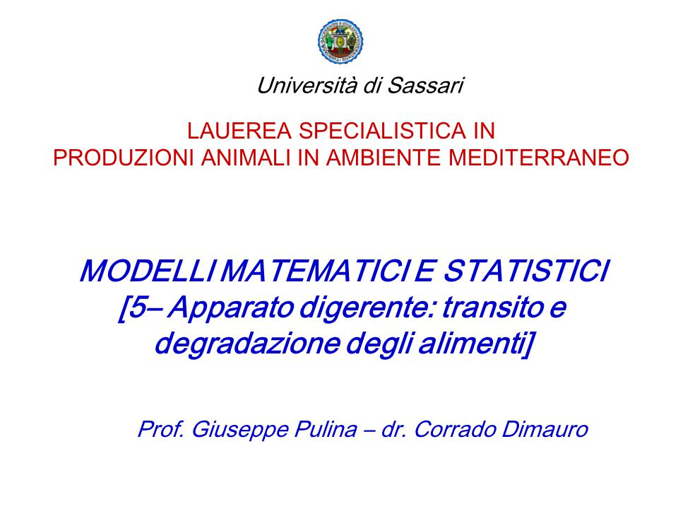 MODELLI MATEMATICI E STATISTICI