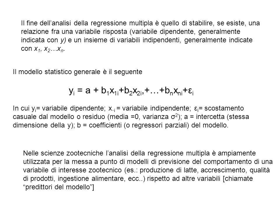 Il fine dell'analisi della regressione multipla è quello di stabilire, se esiste, una relazione fra una variabile risposta (variabile dipendente, generalmente indicata con y) e un insieme di variabili indipendenti, generalmente indicate con x1, x2…xn.