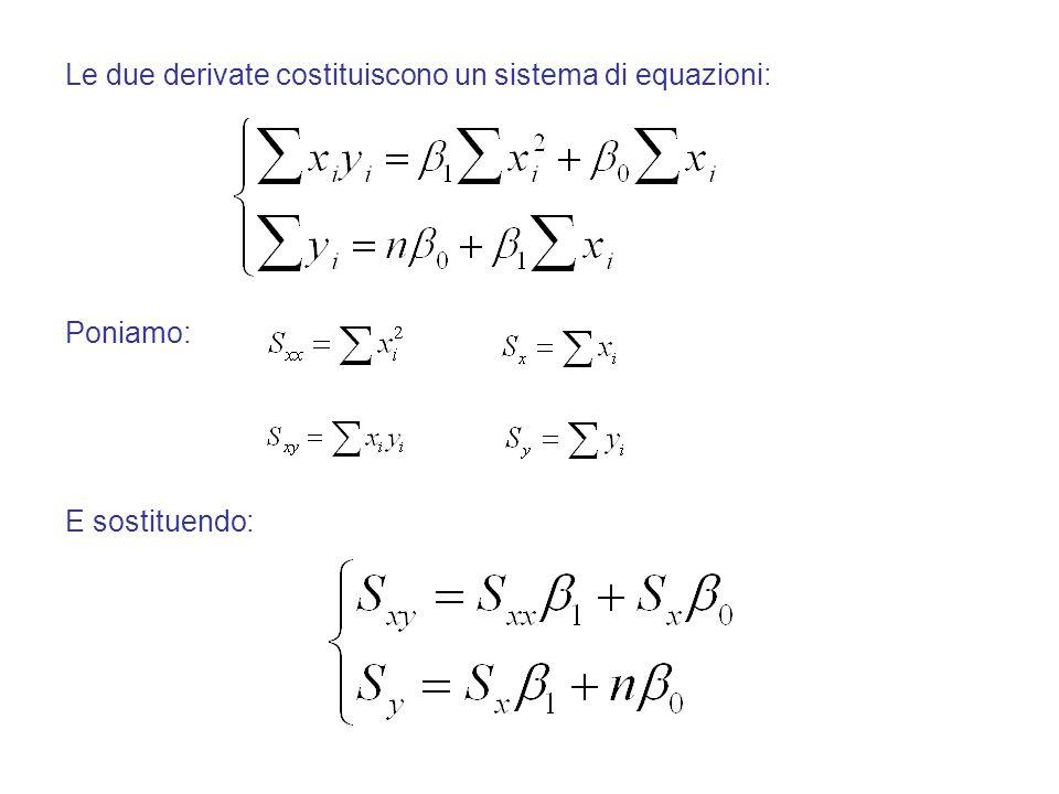 Le due derivate costituiscono un sistema di equazioni: