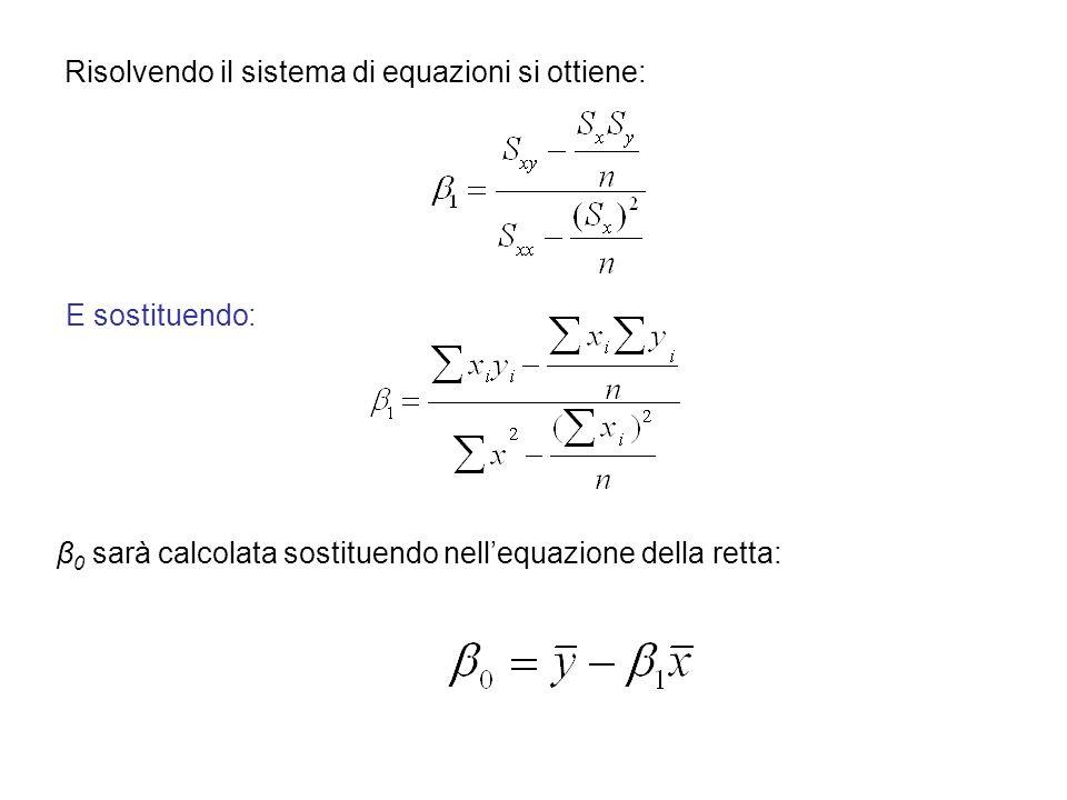 Risolvendo il sistema di equazioni si ottiene: