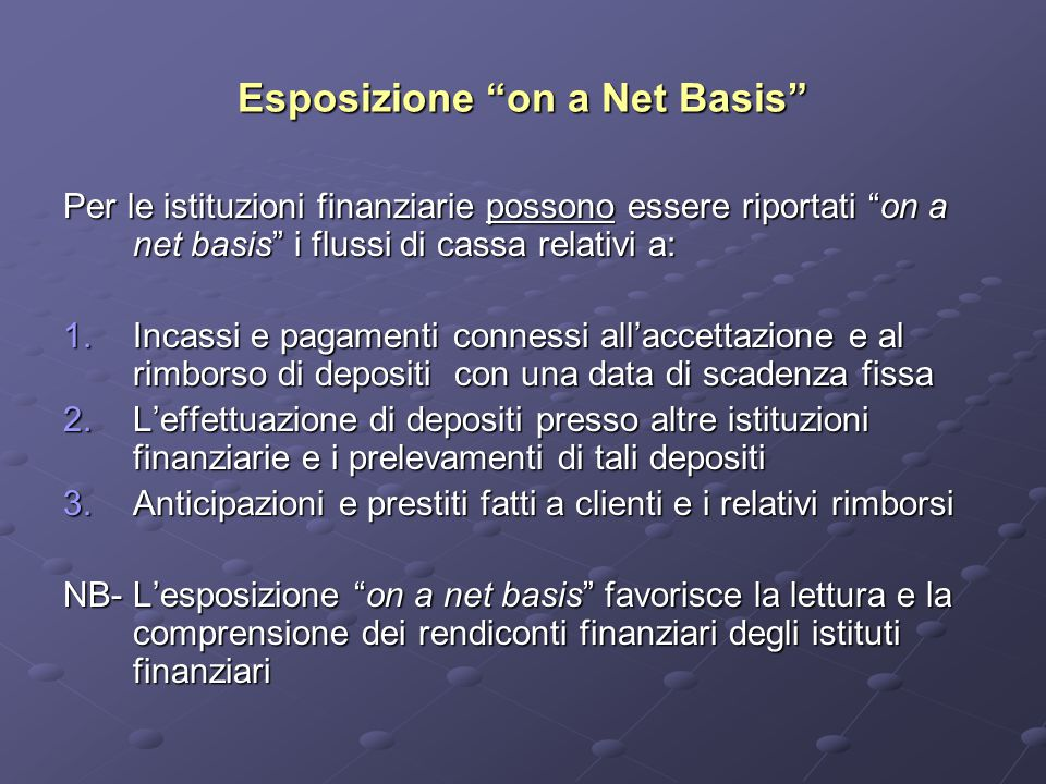 Esposizione on a Net Basis