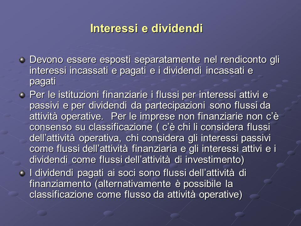 Interessi e dividendi Devono essere esposti separatamente nel rendiconto gli interessi incassati e pagati e i dividendi incassati e pagati.