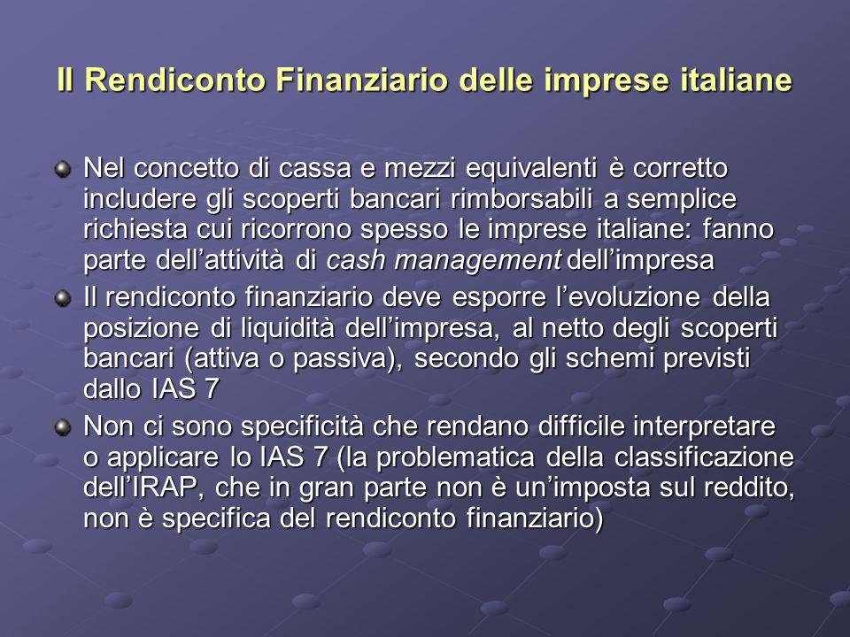 Il Rendiconto Finanziario delle imprese italiane