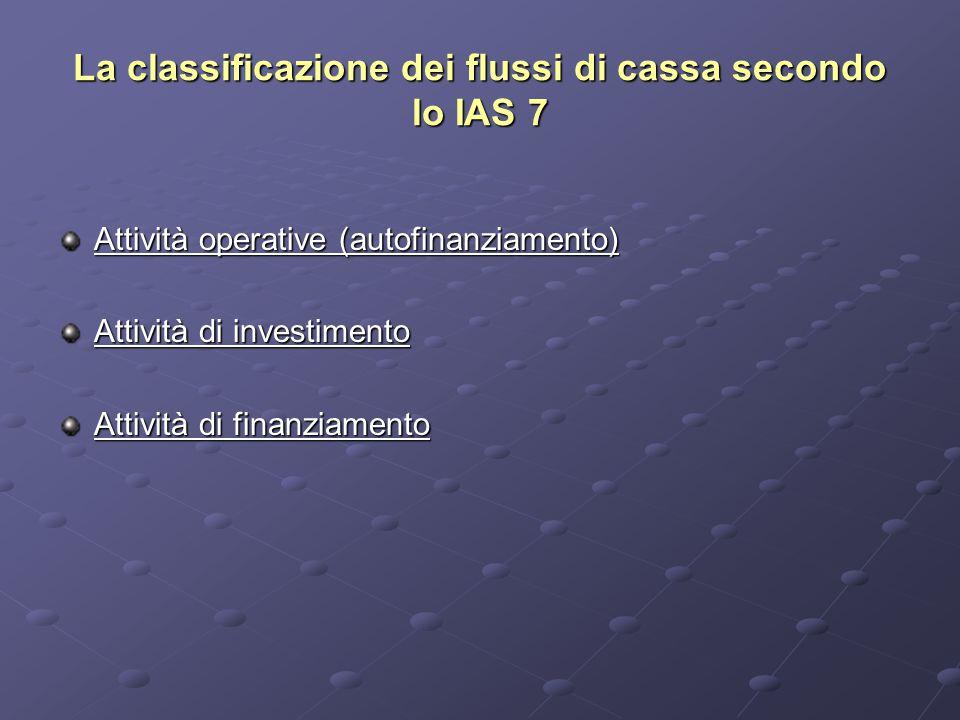 La classificazione dei flussi di cassa secondo lo IAS 7