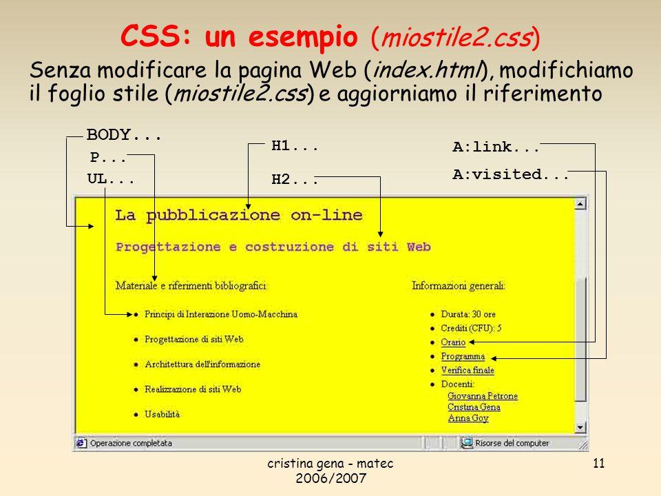 CSS: un esempio (miostile2.css)