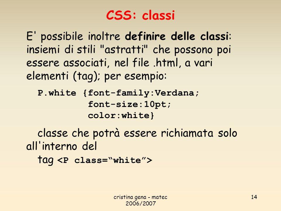 CSS: classi