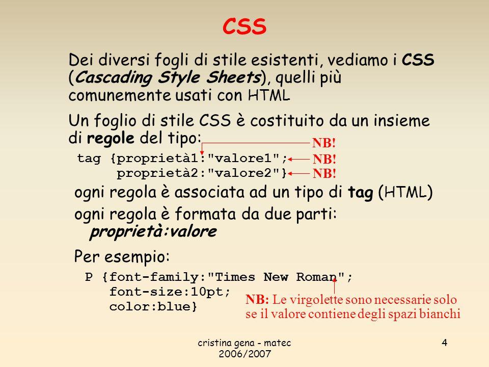 CSS Dei diversi fogli di stile esistenti, vediamo i CSS (Cascading Style Sheets), quelli più comunemente usati con HTML.