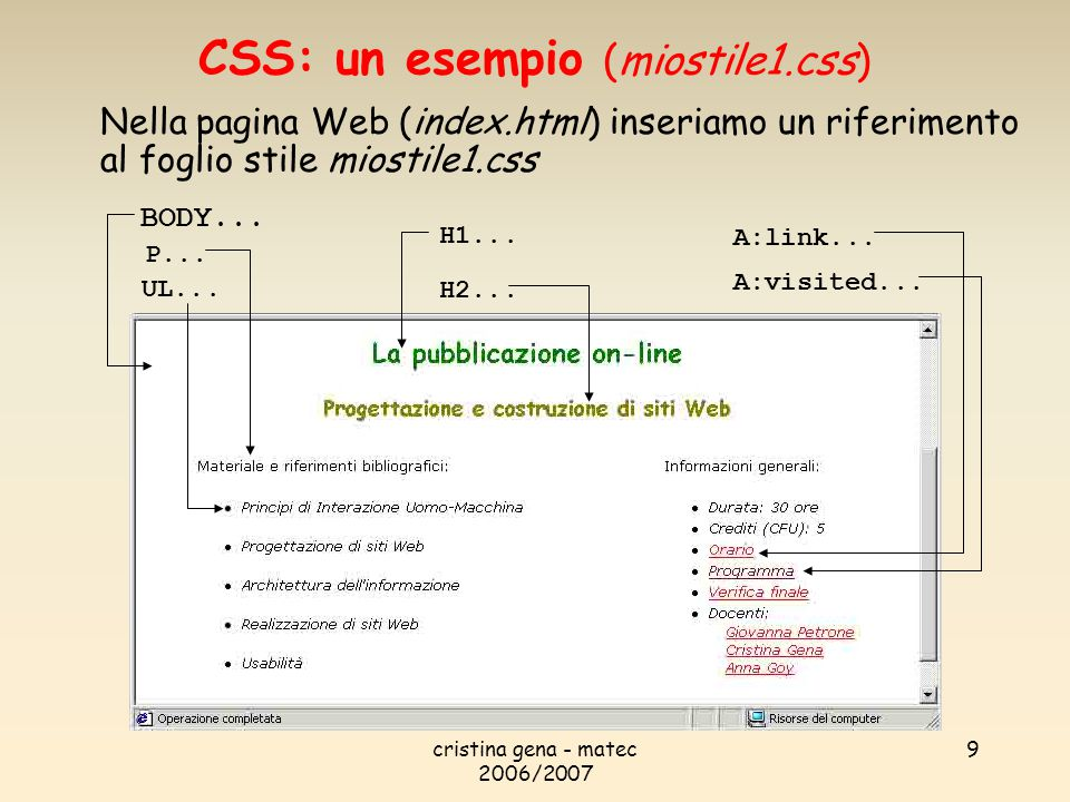 CSS: un esempio (miostile1.css)
