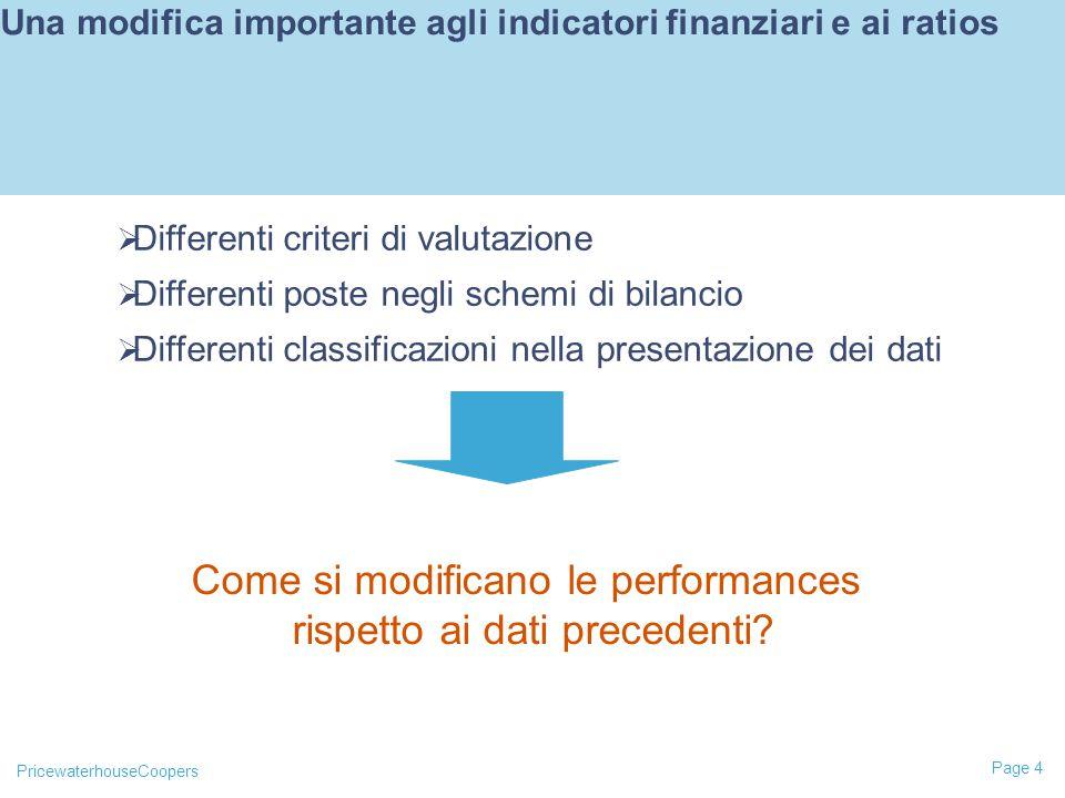 Una modifica importante agli indicatori finanziari e ai ratios