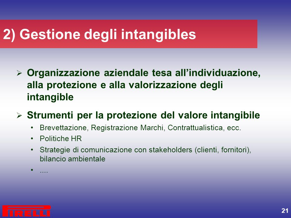 2) Gestione degli intangibles