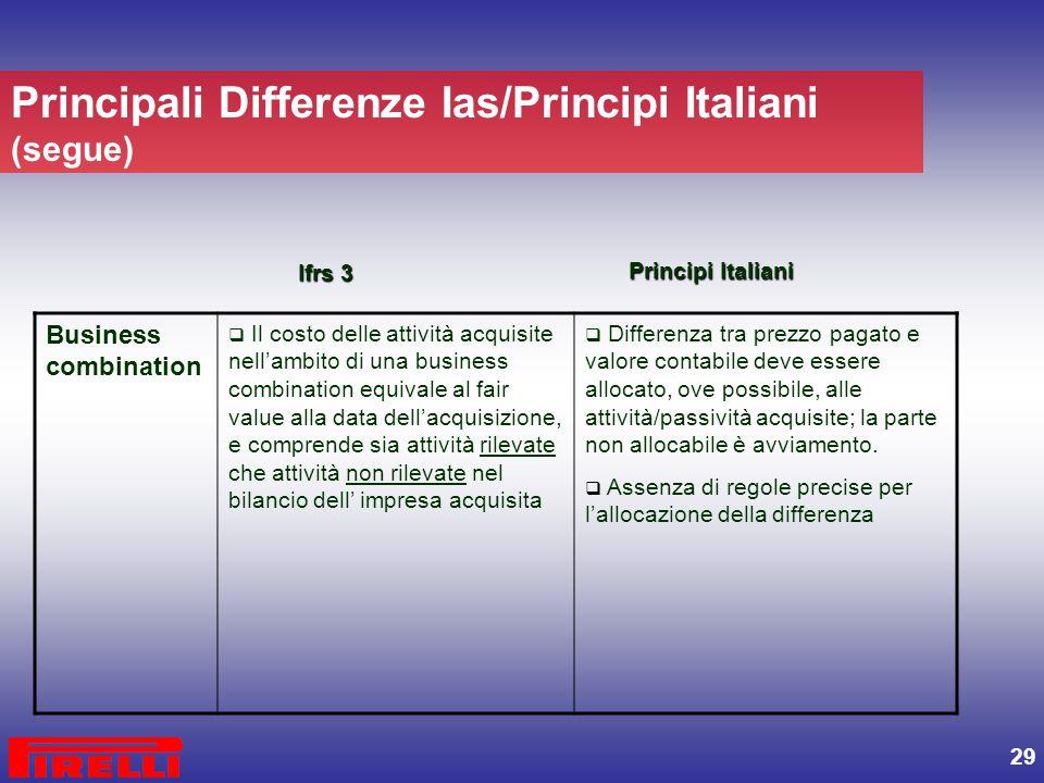 Principali Differenze Ias/Principi Italiani (segue)