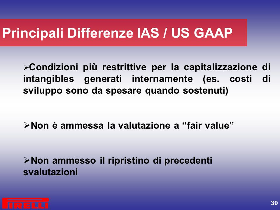 Principali Differenze IAS / US GAAP