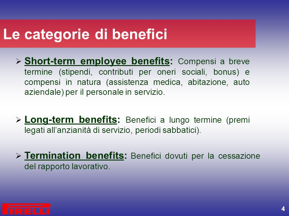 Le categorie di benefici