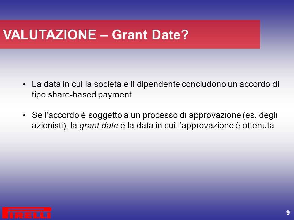 VALUTAZIONE – Grant Date