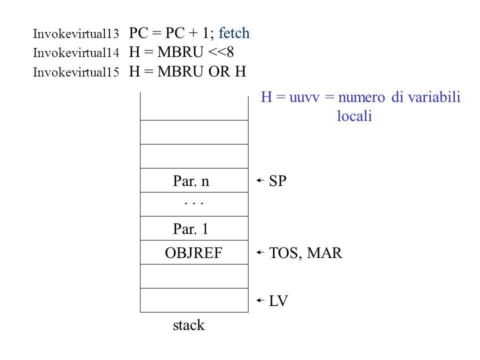 H = uuvv = numero di variabili locali