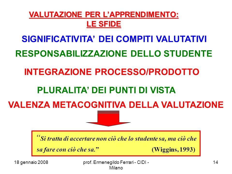 SIGNIFICATIVITA' DEI COMPITI VALUTATIVI