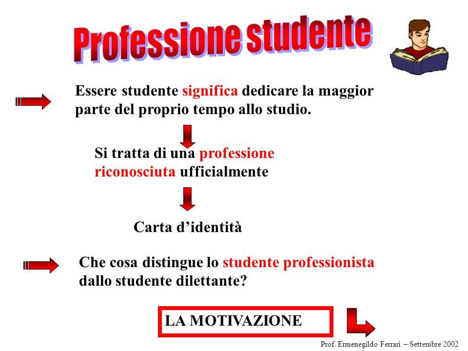 Professione studente Essere studente significa dedicare la maggior parte del proprio tempo allo studio.