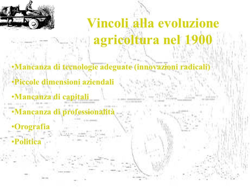 Vincoli alla evoluzione agricoltura nel 1900