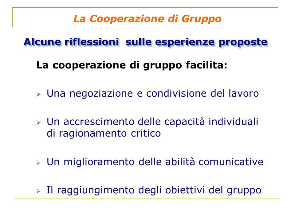 La Cooperazione di Gruppo Alcune riflessioni sulle esperienze proposte